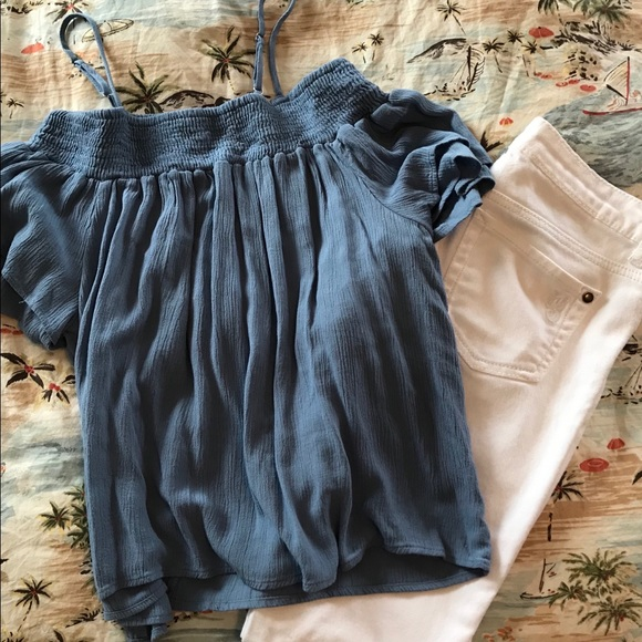 Lily White Tops Offthe Shoulder Peasant Blouse Poshmark